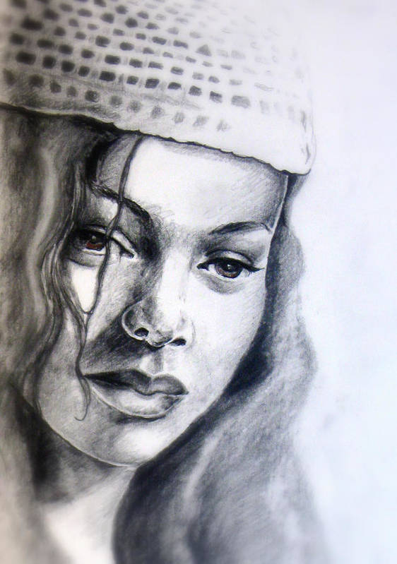 Female Art Print featuring the drawing Knit Hat by Alphonso Edwards II