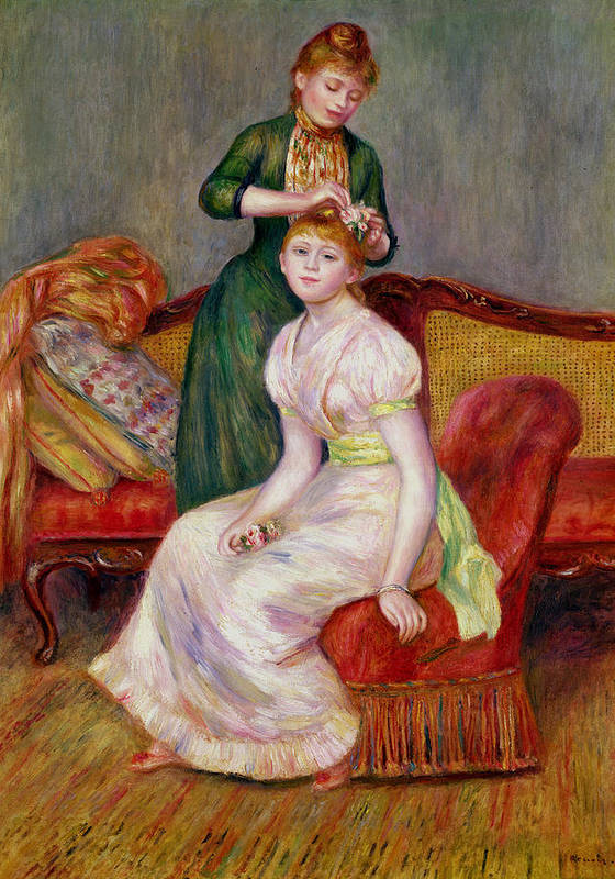 Coiffure Art Print featuring the painting La Coiffure by Renoir