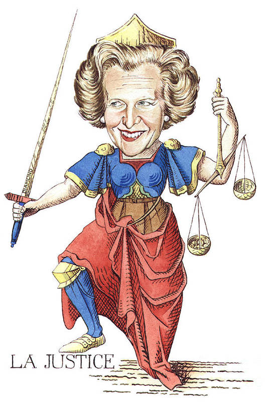 Margaret Thatcher Scales Justice Tarot Caricature Sword Art Print featuring the painting La Justice by Debbie Diamond