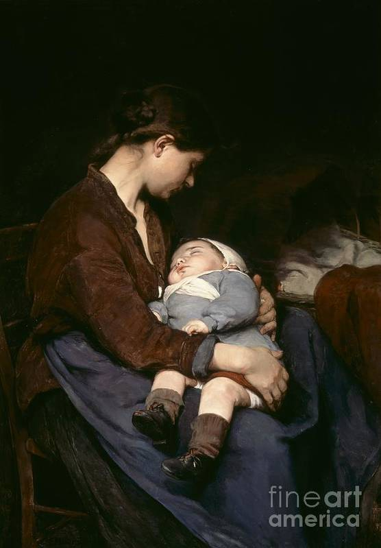 Mother And Child Print featuring the painting La Mere by Elizabeth Nourse