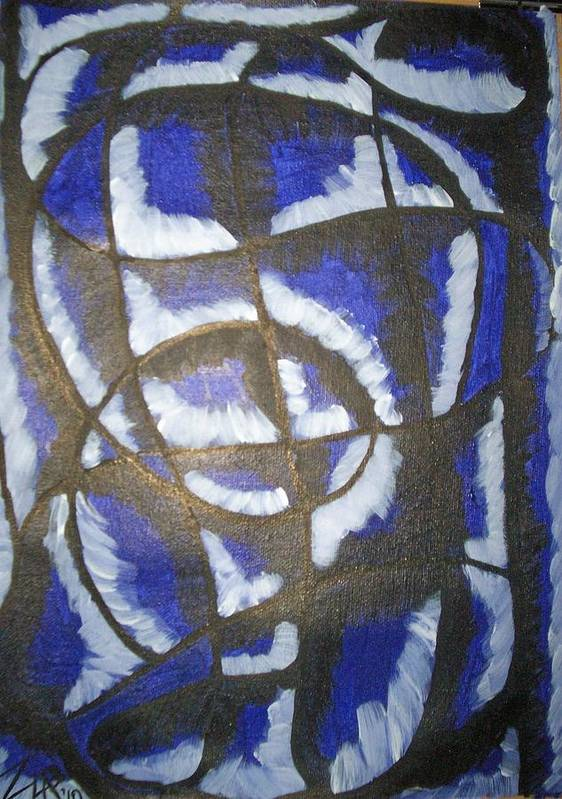 Abstract Art Print featuring the painting Lady In Blue by Zalina Barrington