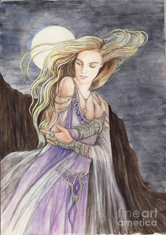 Lady Art Print featuring the painting Lady Of The Moon by Morgan Fitzsimons