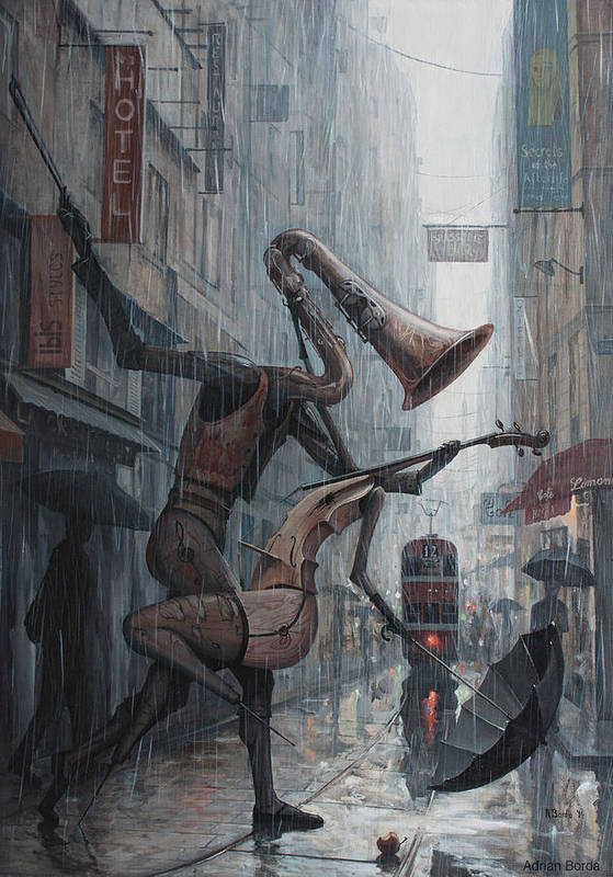 Life Art Print featuring the painting Life Is Dance In The Rain by Adrian Borda