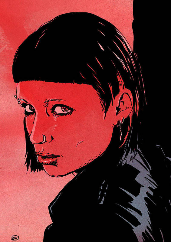Mara Rooney Art Print featuring the drawing Lisbeth Salander Mara Rooney by Giuseppe Cristiano