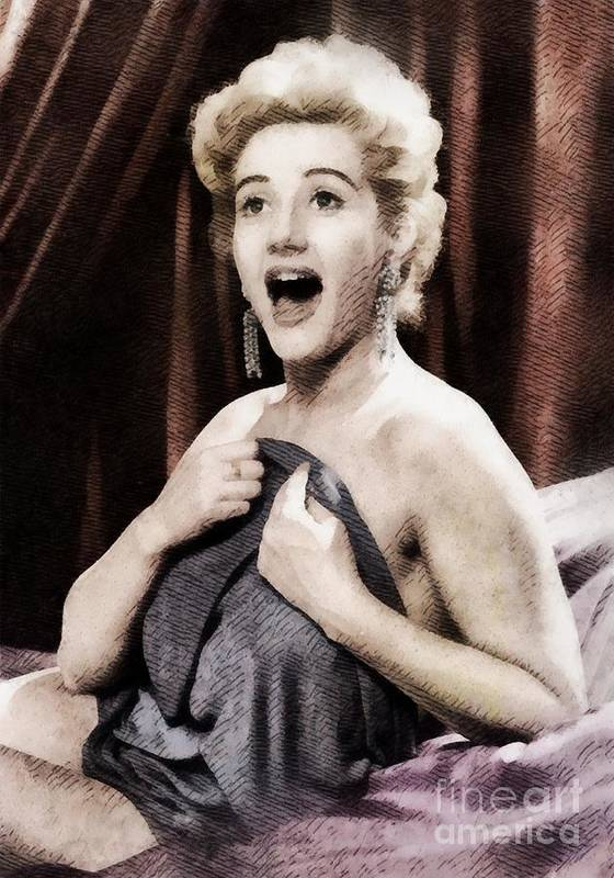 Hollywood Art Print featuring the painting Liz Fraser, Vintage British Actress by John Springfield