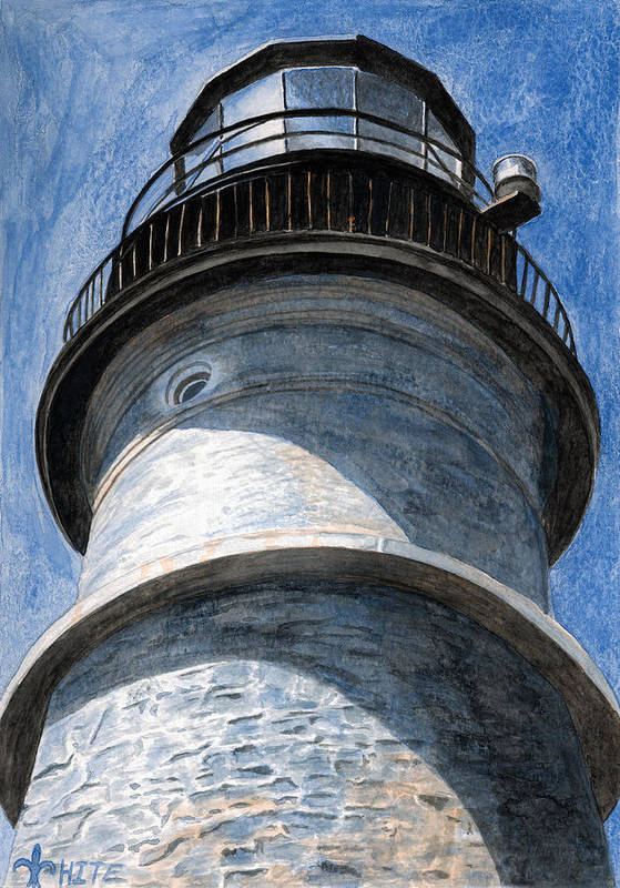 Lighthouse Art Print featuring the painting Looking Up Portland Head Light by Dominic White