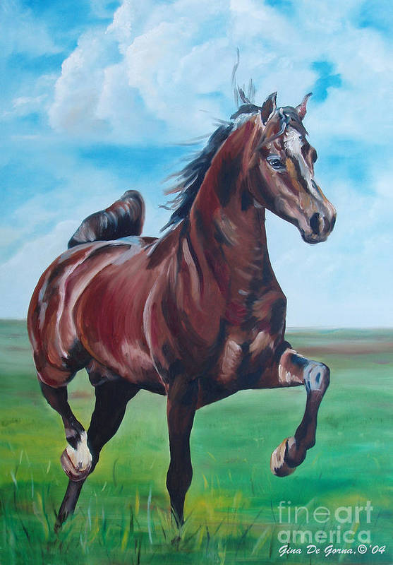 Horse Art Print featuring the painting Lovely by Gina De Gorna