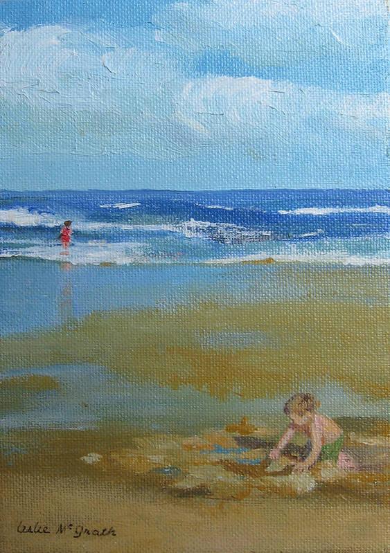 Leslie Mcgrath Art Print featuring the painting making castles on Salisbury Beach by Leslie Alfred McGrath