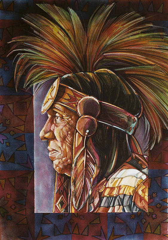 Native American Art Print featuring the painting Medicine Man by Lois Hogg