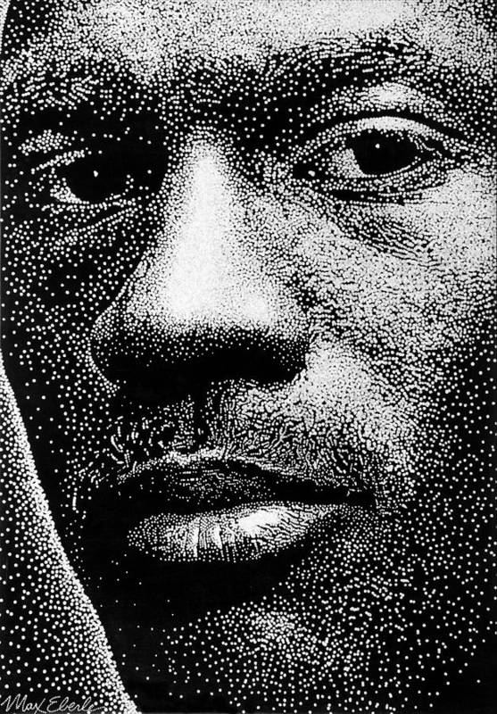 Portrait Print featuring the painting Michael Jordan by Max Eberle