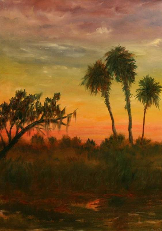 Palm Trees; Tropical; Marsh; Sunrise Art Print featuring the painting Morning Fog by Ben Kiger