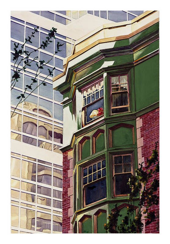 Apartment Window World Flat Building Modern Deco Shade Sun Light Contrast Old New Art Print featuring the painting My Corner Of The World by Mike Hill