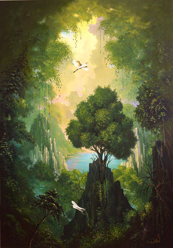 Landscape Art Print featuring the painting My Eden by Hans Doller