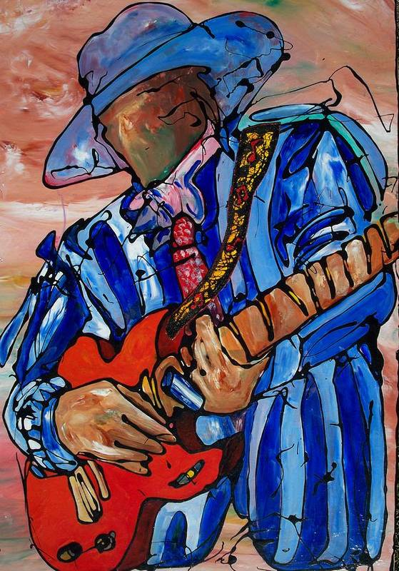 Music Art Print featuring the painting Nameless The Wailer by Ernie Scott- Dust Rising Studios