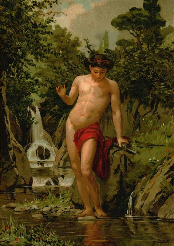 Narcissus Art Print featuring the painting Narcissus In Love With His Own Reflection by Dionisio Baixeras-Verdaguer