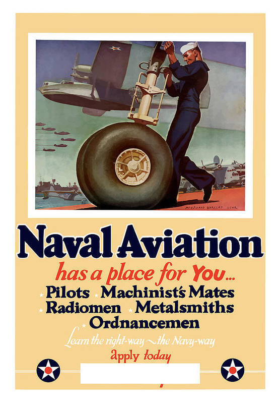 Navy Art Print featuring the painting Naval Aviation Has A Place For You by War Is Hell Store