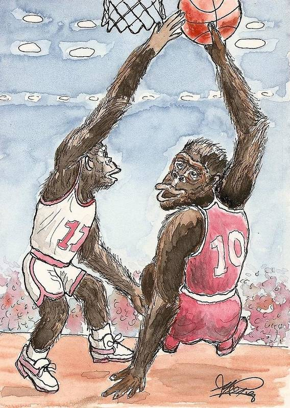Basketbal Art Print featuring the painting No No No by George I Perez