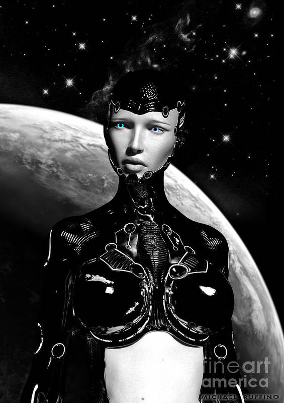 Cyborg Art Print featuring the digital art Not All Things Are Black And White by Michael Ruffino