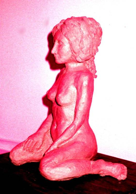 Sculpture Nude Woman Clay Art Print featuring the sculpture Nude by Bethwyn Mills