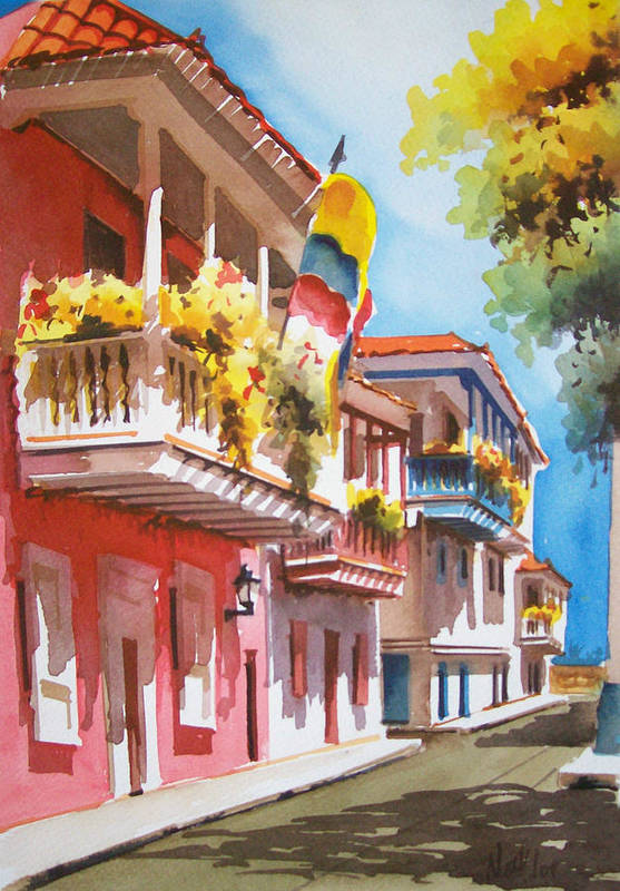 Cartagena Art Print featuring the painting Old Caragenta by Leo Gordon