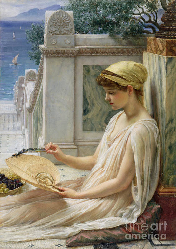 On The Terrace Art Print featuring the painting On The Terrace by Sir Edward John Poynter