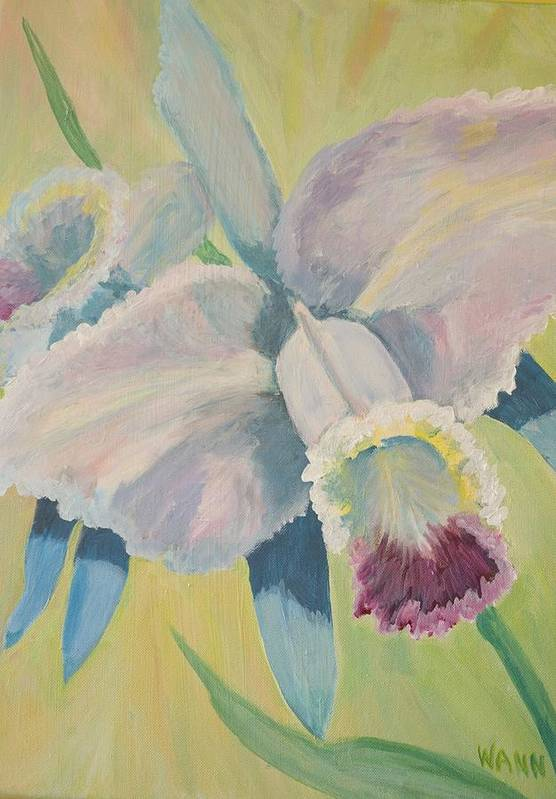 Flower Art Print featuring the painting Orchid by Anita Wann