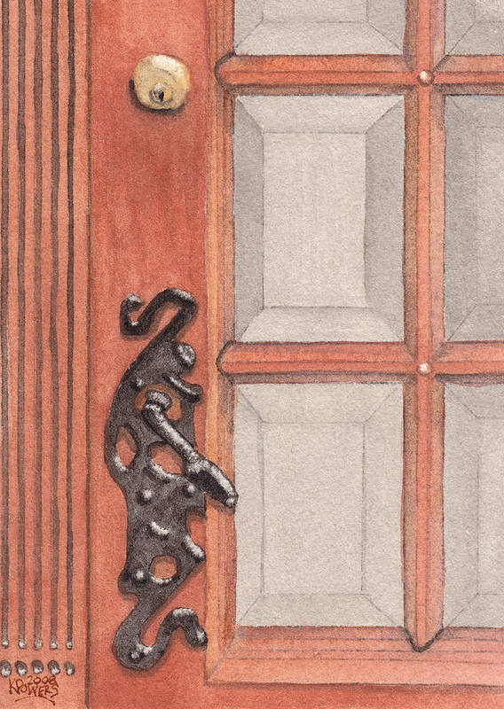 Handle Art Print featuring the painting Ornate Door Handle by Ken Powers
