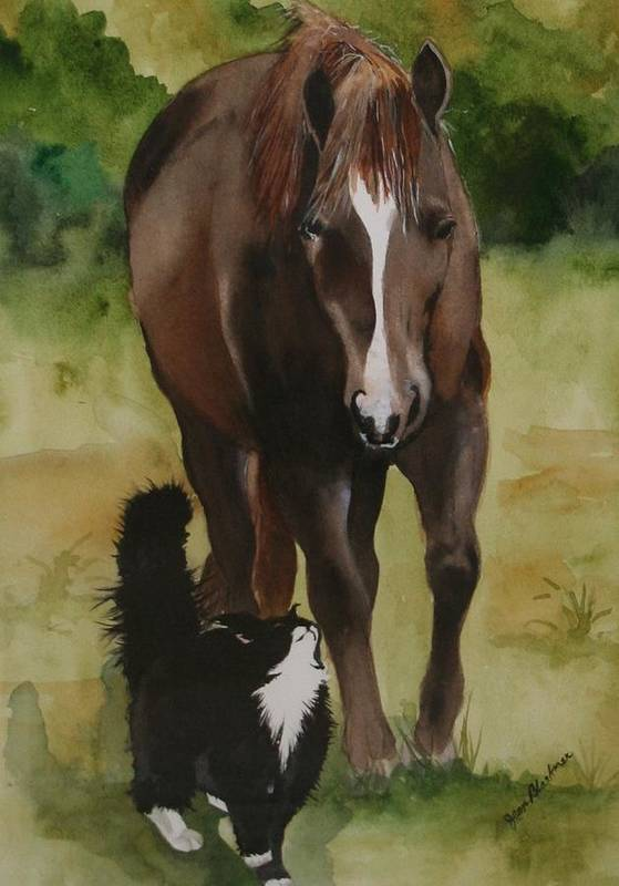 Horse Art Print featuring the painting Oscar And Friend by Jean Blackmer