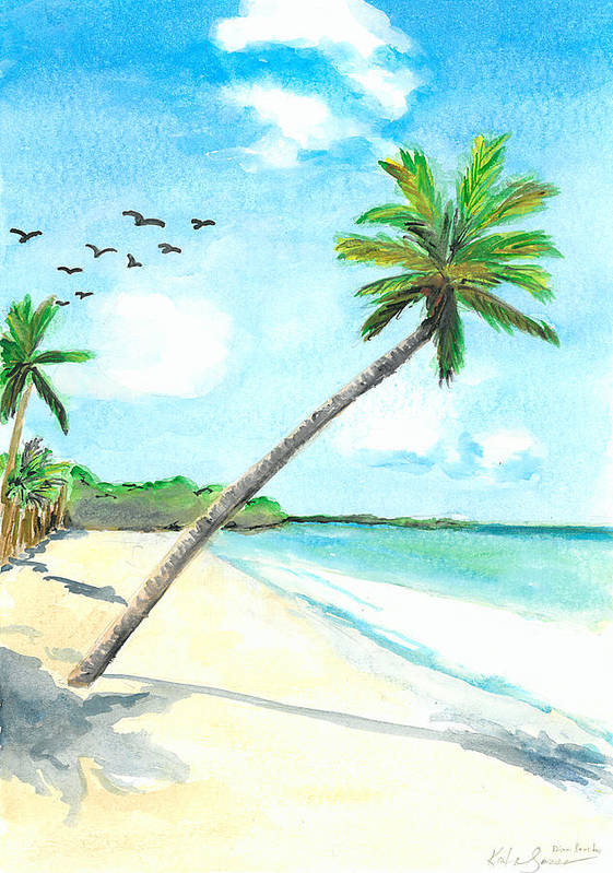 Beach Art Print featuring the painting Palm Over Diani Beach by Katie Sasser