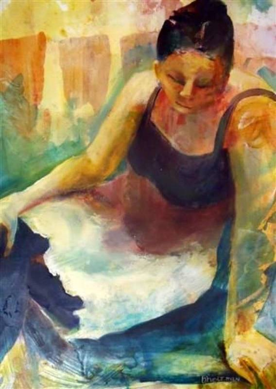Female Figure Art Print featuring the painting Pensive by Buff Holtman