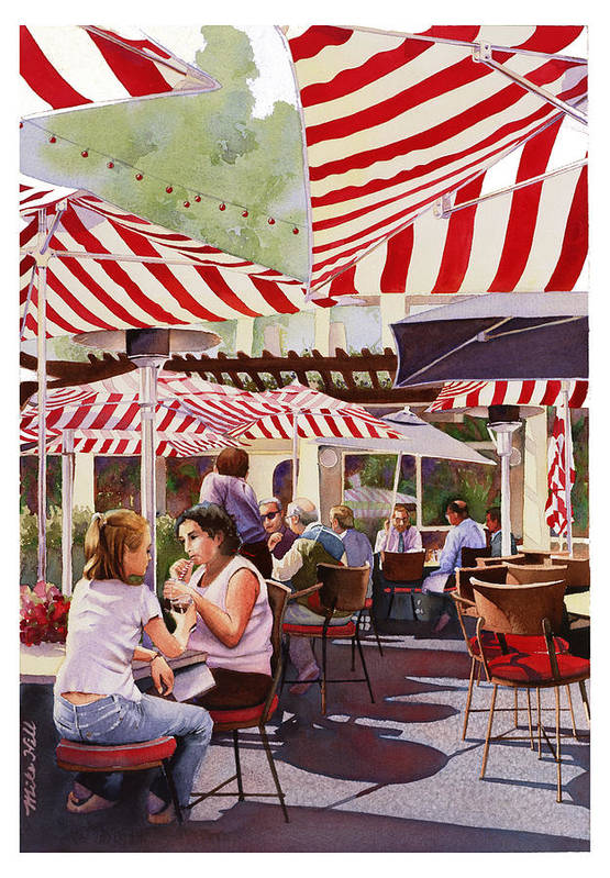 Restaurant Cafe Red White Stripes Umbrellas Shadows Eat Drink San Diego Warm Peppermint Candy Stripe Art Print featuring the painting Peppermint Moment by Mike Hill