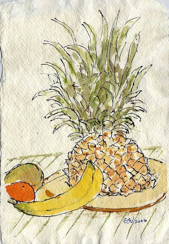 Fruit Art Print featuring the painting Pineapple And Banana by Bernard Victor