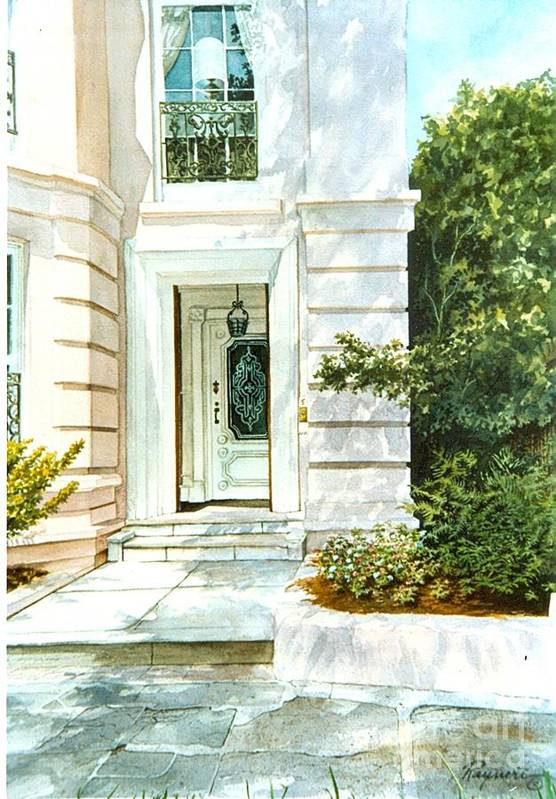 Pink Mansion Art Print featuring the painting Pink Mansion by Oscar Rayneri