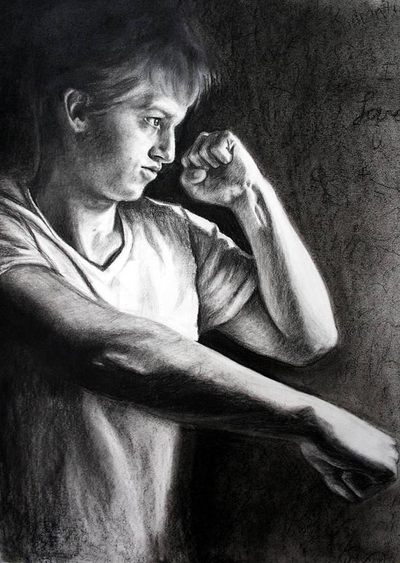 Portrait Art Print featuring the drawing Portrait by Maryn Crawford