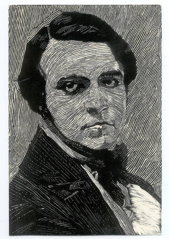 Scratchboard Art Print featuring the drawing Portrait Of A Man by Robert Bissett