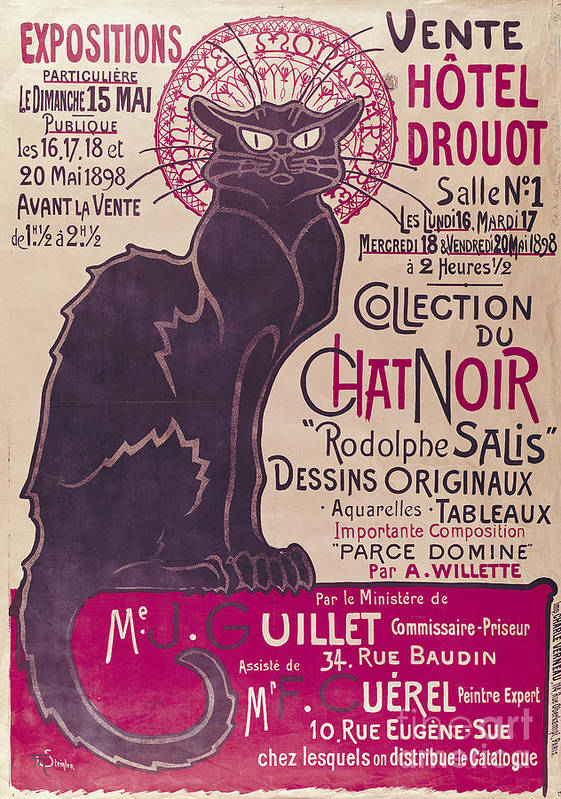 Poster Print featuring the painting Poster Advertising An Exhibition Of The Collection Du Chat Noir Cabaret by Theophile Alexandre Steinlen