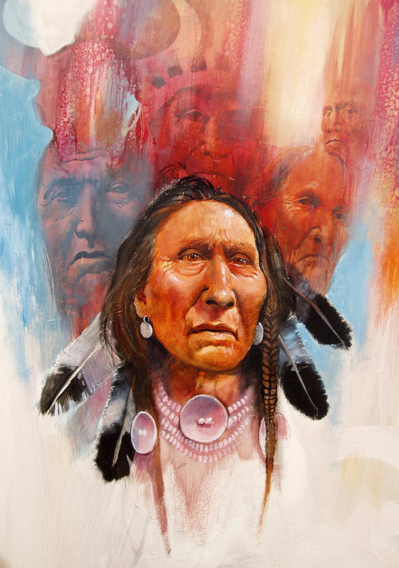 Native American Print featuring the painting Proud Warrior by Robert Carver