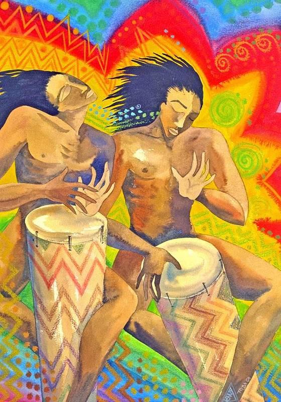 Drumming Caribbean Rythm Vibrance Colourful Rasta Art Print featuring the painting Rasta Rythm by Jennifer Baird