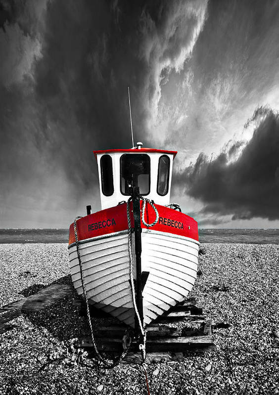 Boat Art Print featuring the photograph Rebecca Wearing Just Red by Meirion Matthias