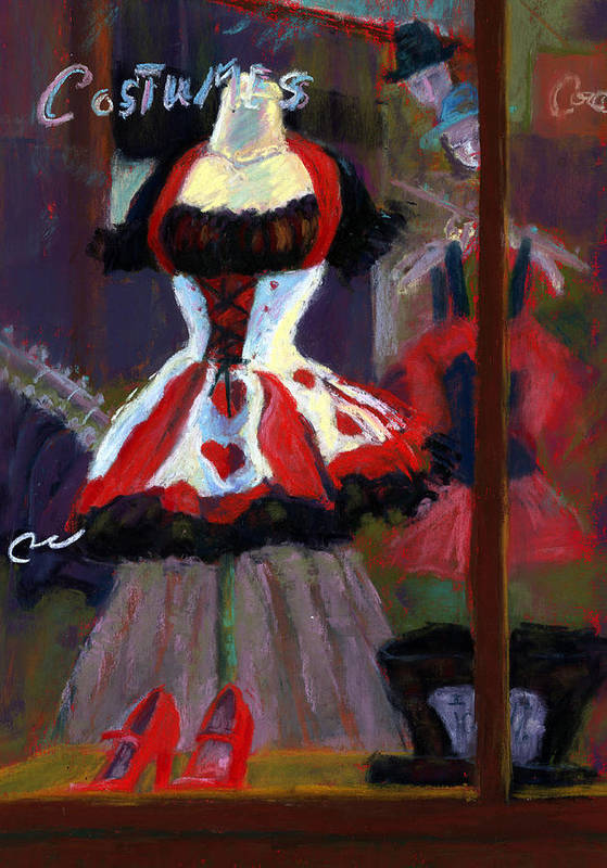 Red Black White Jester Costume Mardi Gras Holloween Ritz Exotic Night Store Window Art Print featuring the painting Red And Black Jester Costume by Cheryl Whitehall