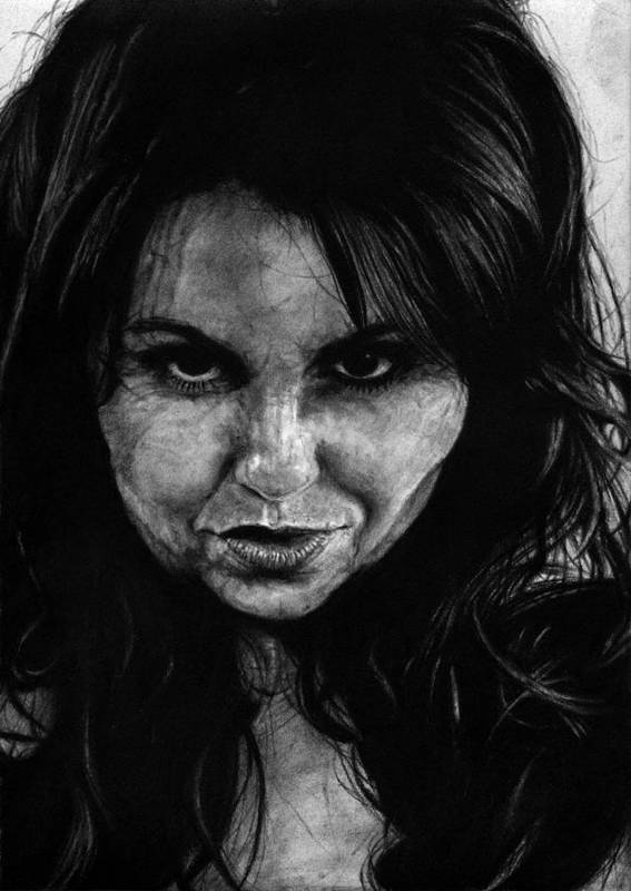 Portrait Girl Woman Sketch Drawing Charcoal Art Traditional Life Thought Smile Beautiful Expression Art Print featuring the drawing Reel Romance by Priscilla Vogelbacher