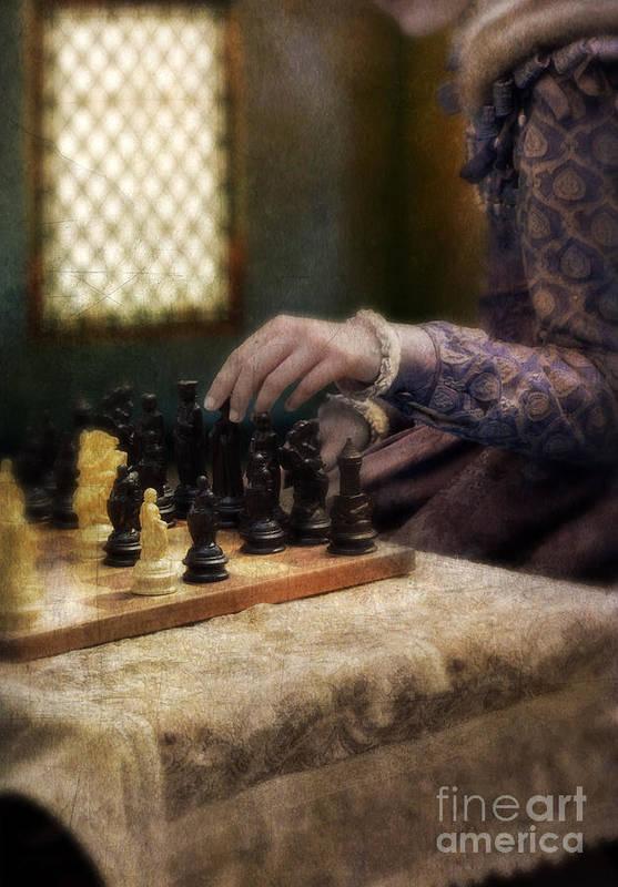 Chess Art Print featuring the photograph Renaissance Lady Playing Chess by Jill Battaglia