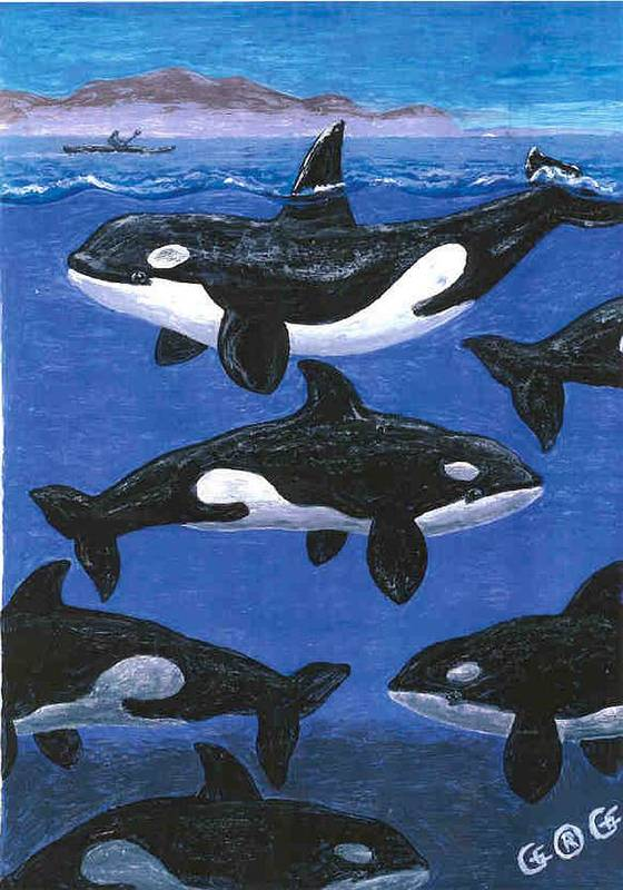 Orcas Art Print featuring the painting Return Of The Whale by George I Perez