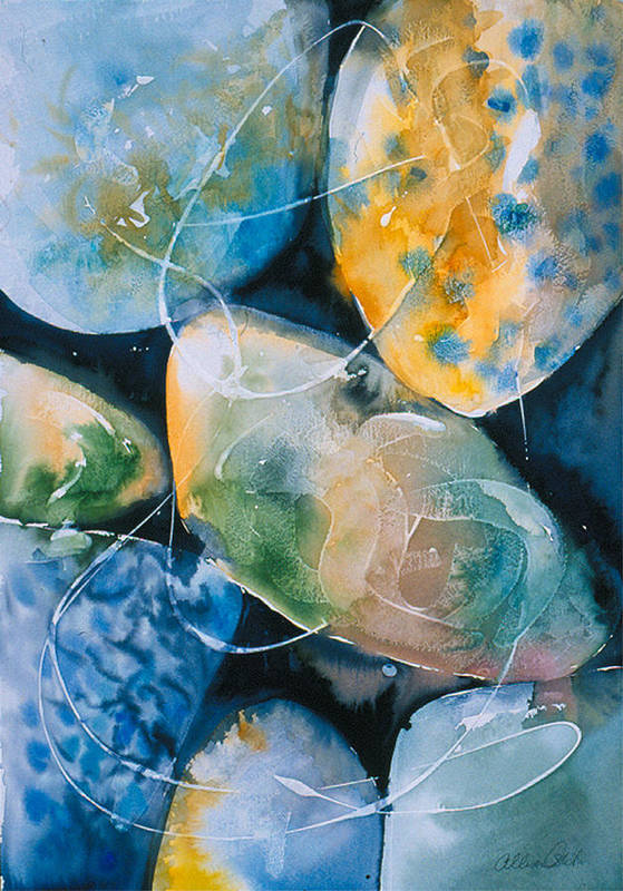 Water Art Print featuring the painting Rock In Water by Allison Ashton
