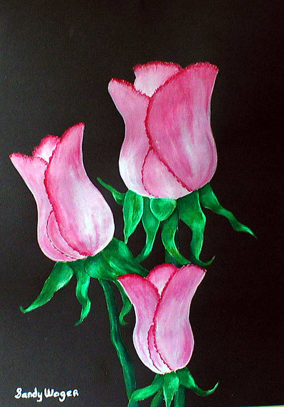 Rosebuds Art Print featuring the painting Rose Buds by Sandy Wager