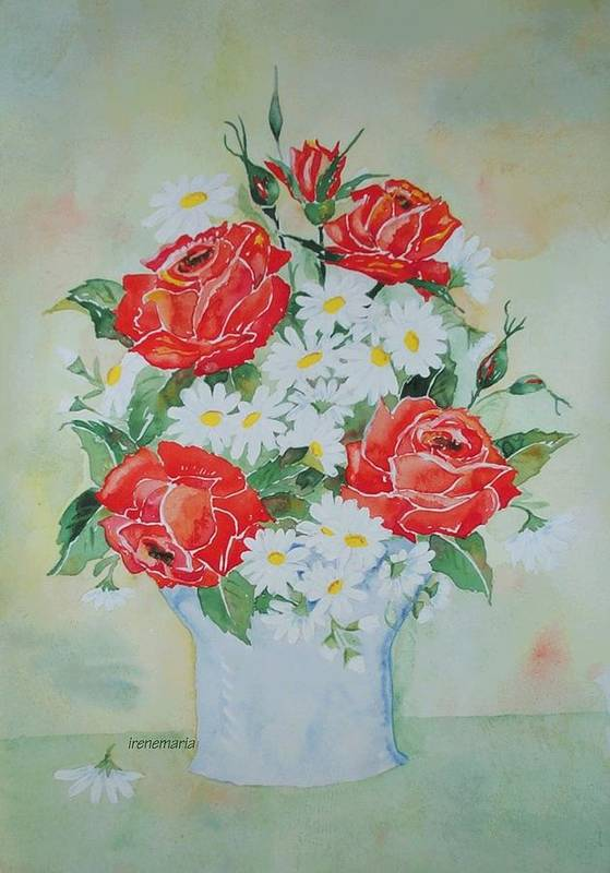 Roses Flowers Art Print featuring the painting Roses And Daises by Irenemaria