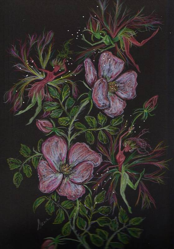 Wild Flowers Print featuring the drawing Roses Run Amok by Dawn Fairies