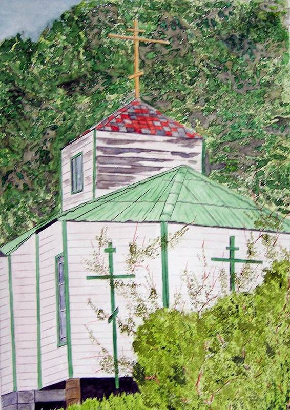 Church Art Print featuring the painting Russian Orthodox In Hoonah by Larry Wright