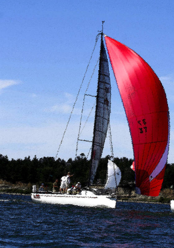 Red Art Print featuring the photograph Sail Away - Watecolor by Mary Gaines