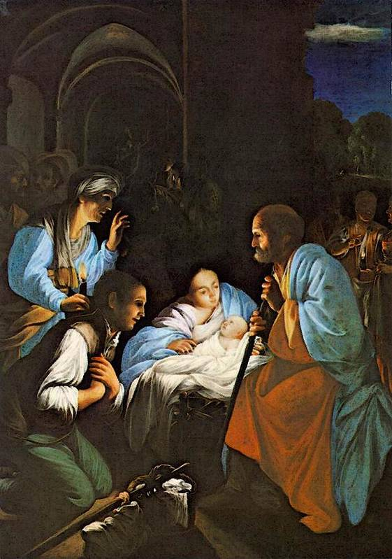 Saraceni Art Print featuring the digital art Saraceni Carlo The Birth Of Christ by PixBreak Art
